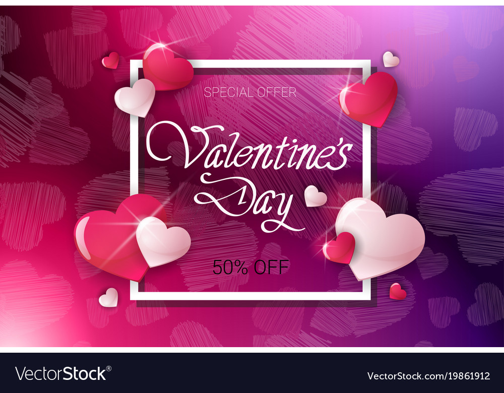 Valentine day discount offer poster template sale