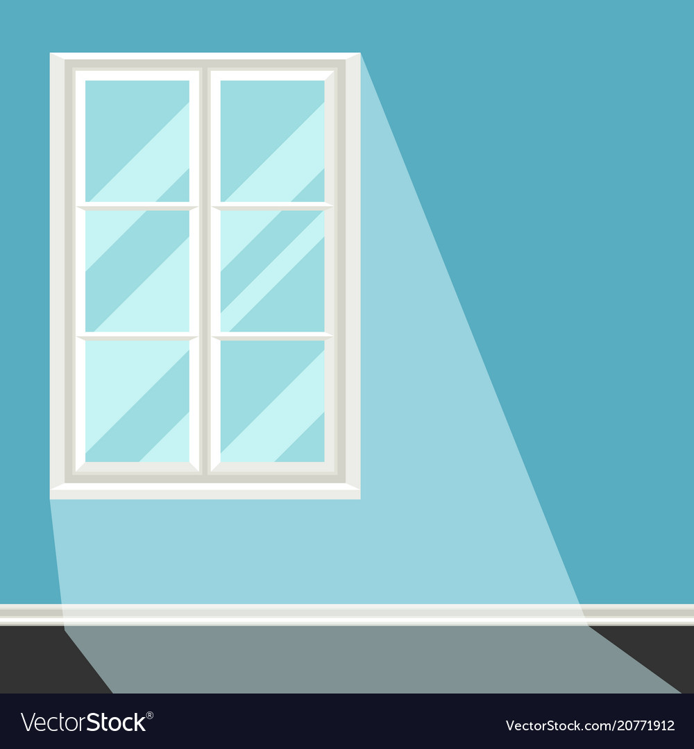 White plastic window on blue wall