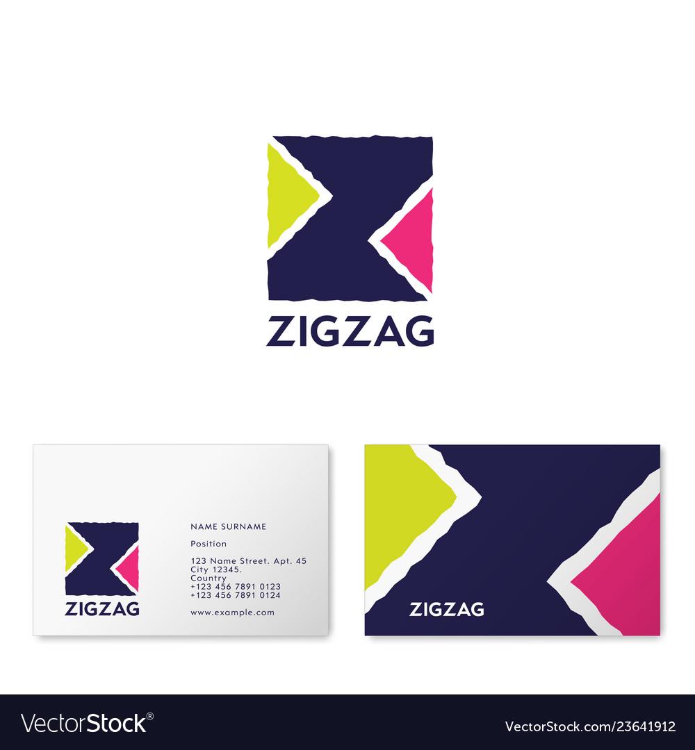 Z letter zigzag logo ribbon web