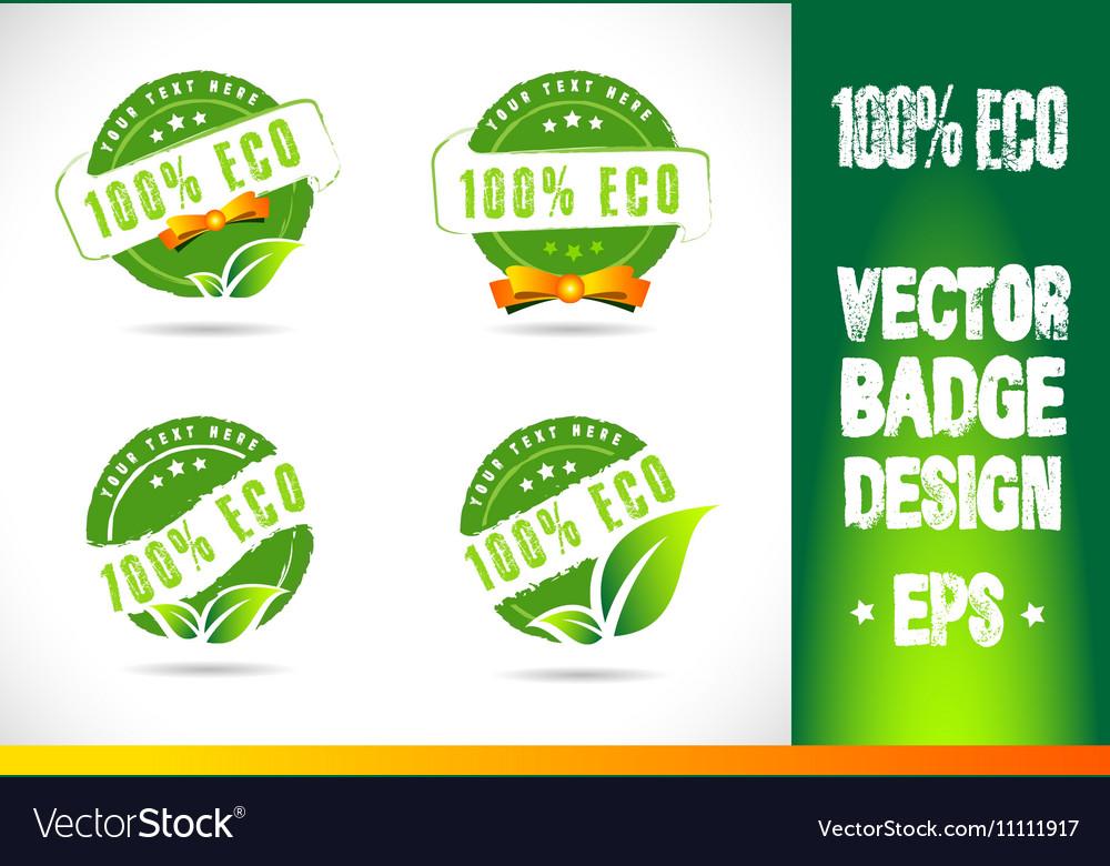 100 Eco Badge Logo vector image