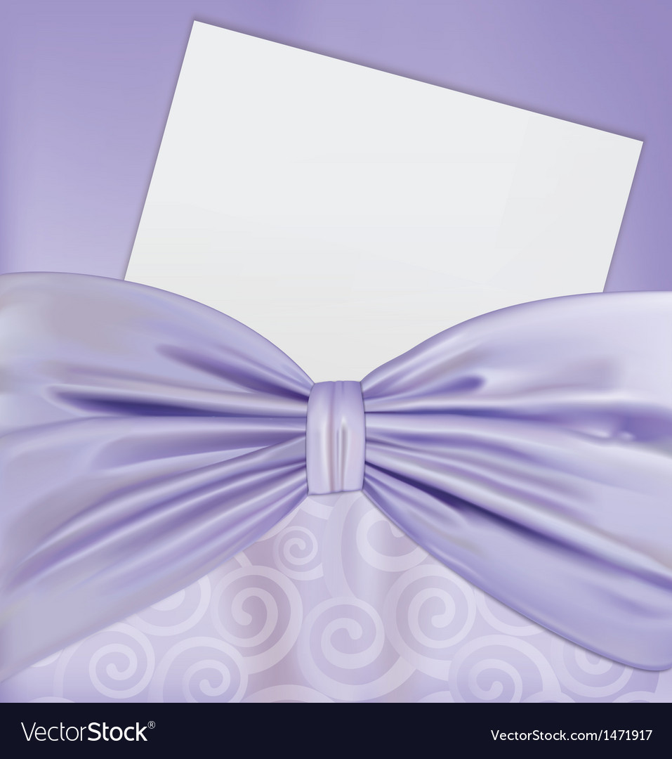 Background with a bow and a blanks white paper vector image