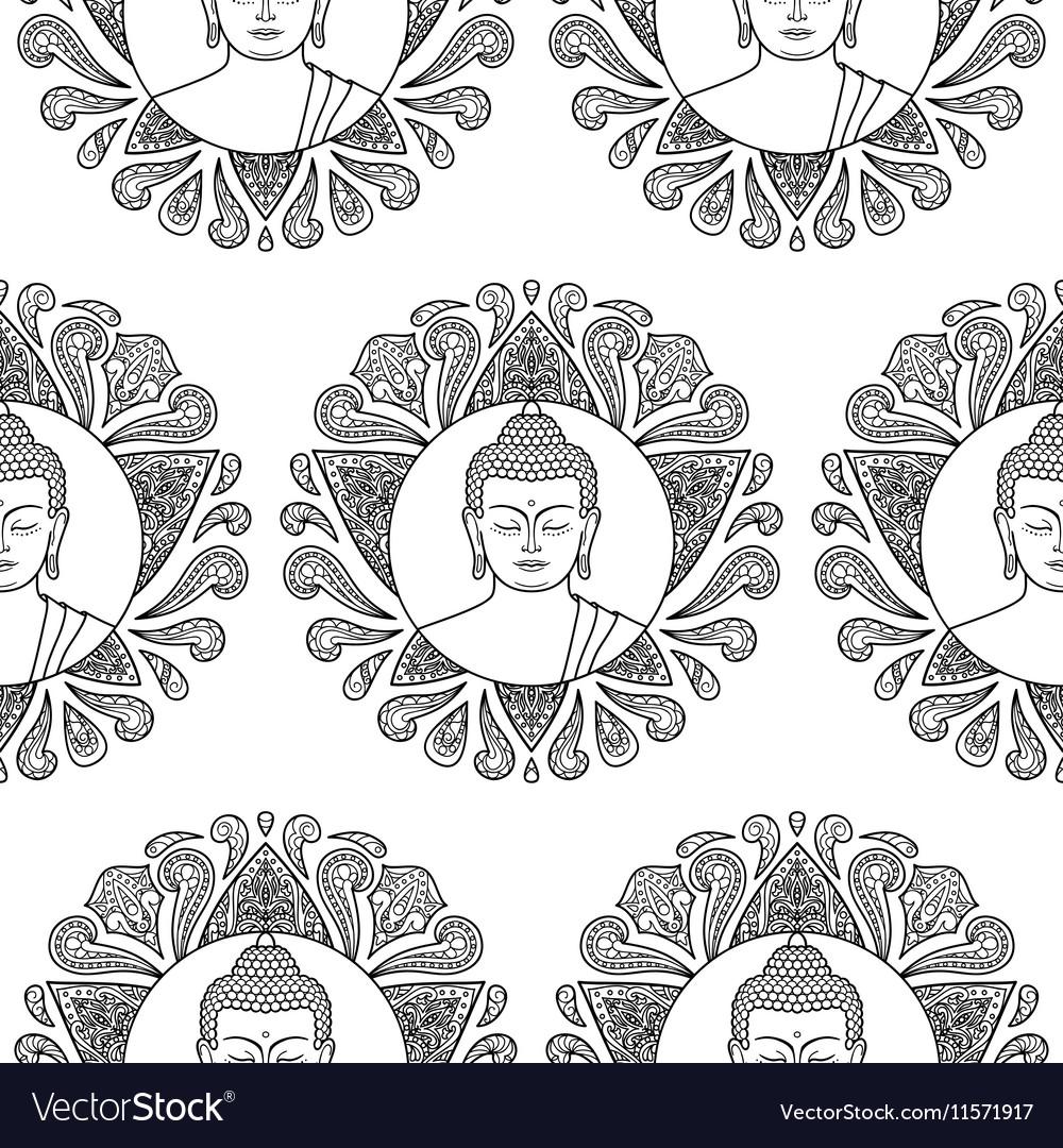Buddha with Lotus Seamless Pattern