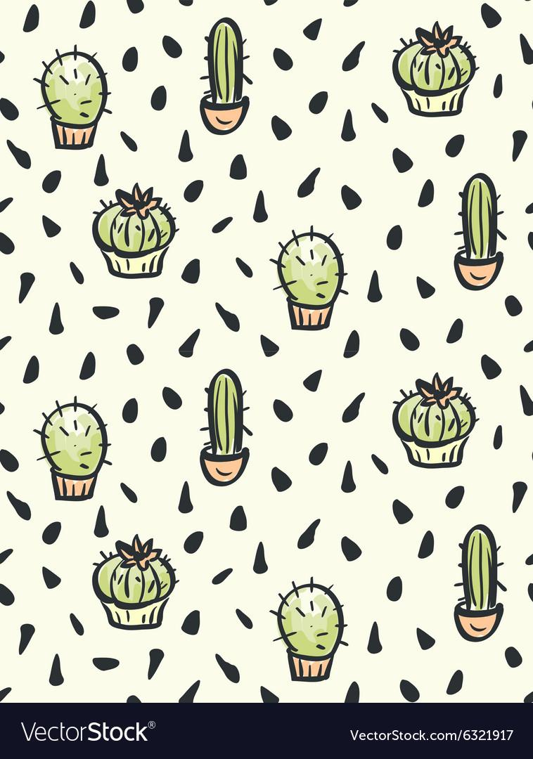 Cactus hand-drawn seamless pattern