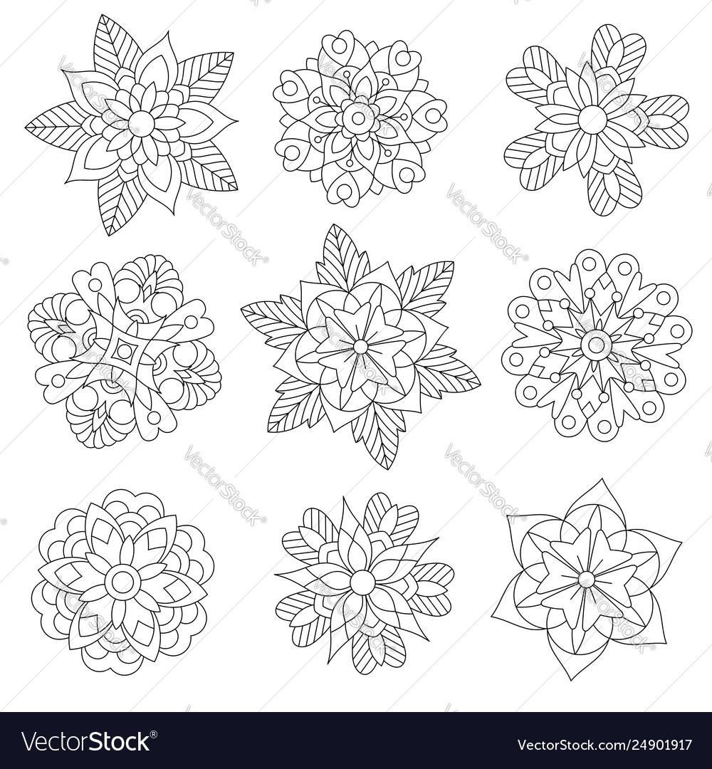 Christmas snowflakes or manda flowers coloring set