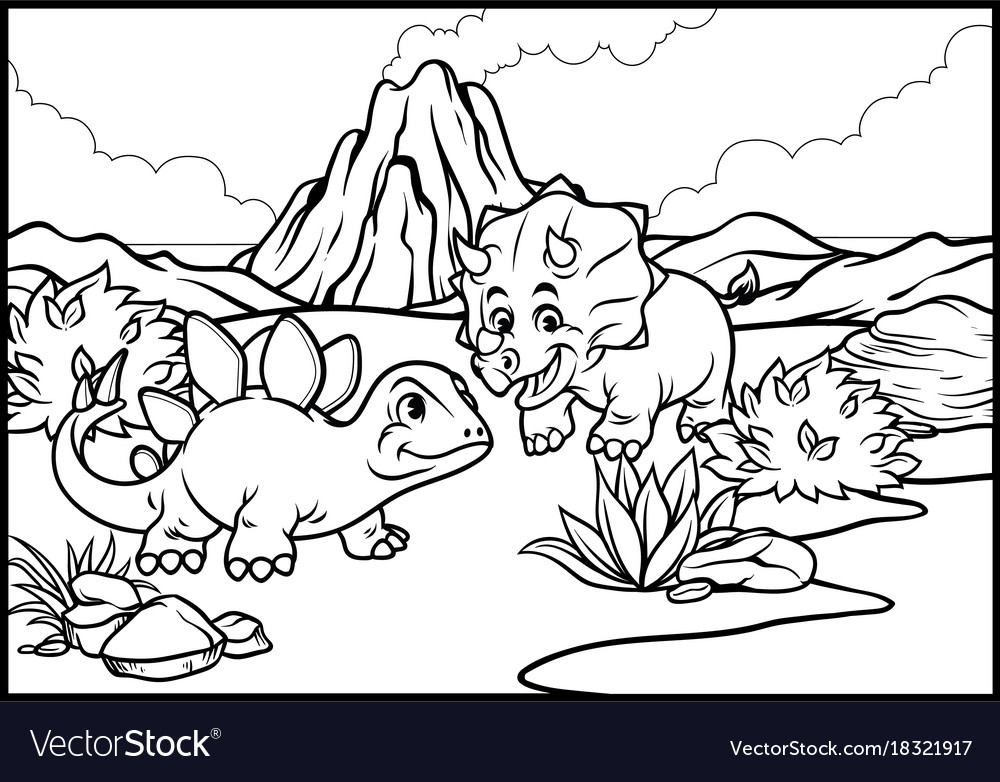 Coloring Page Cartoon Triceratops And Royalty Free Vector