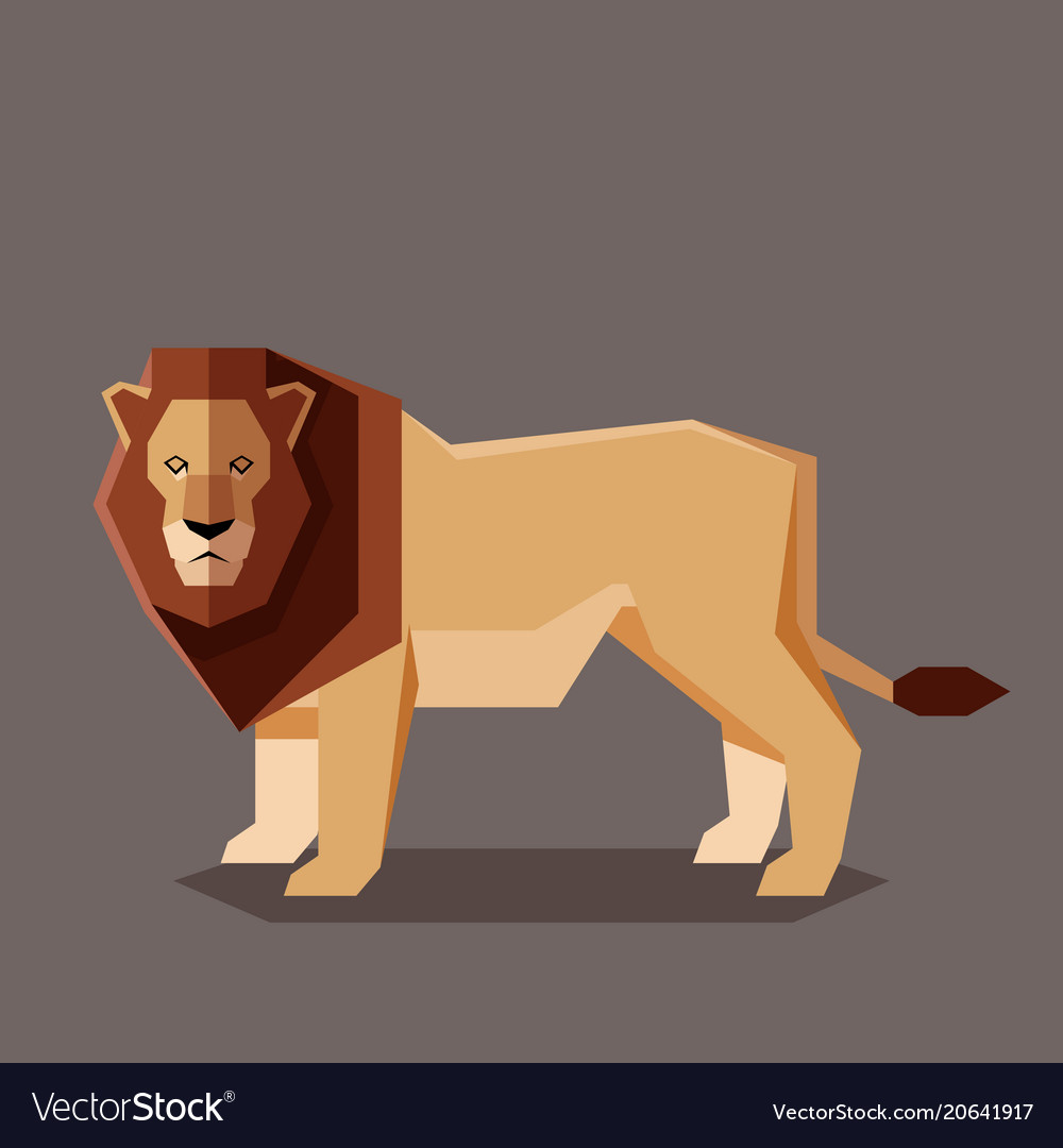Flat geometric lion vector image