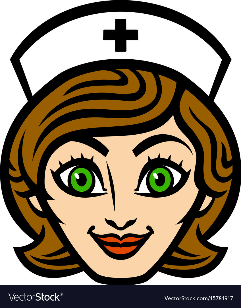 Friendly female nurse cartoon face smile