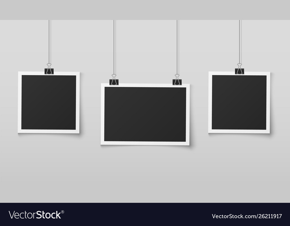 Hanging photo frames blank photos frame hangs on