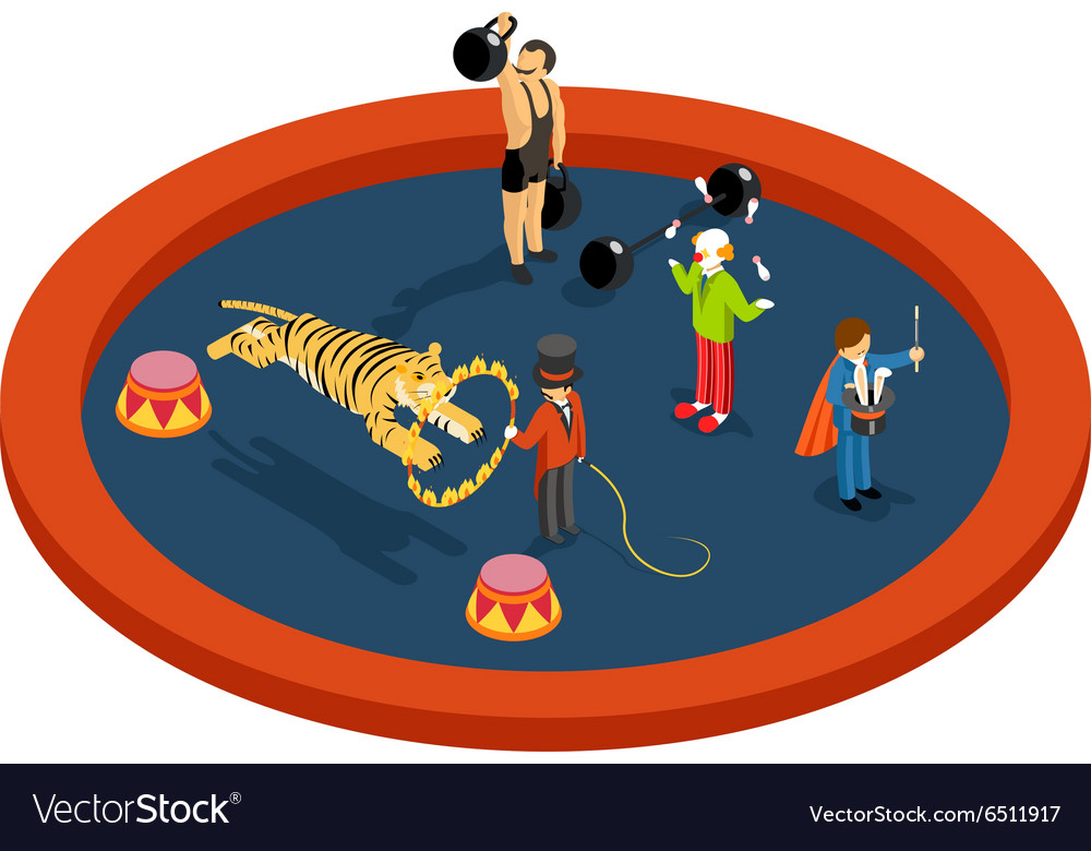 Isometric 3d circus characters Animal trainer