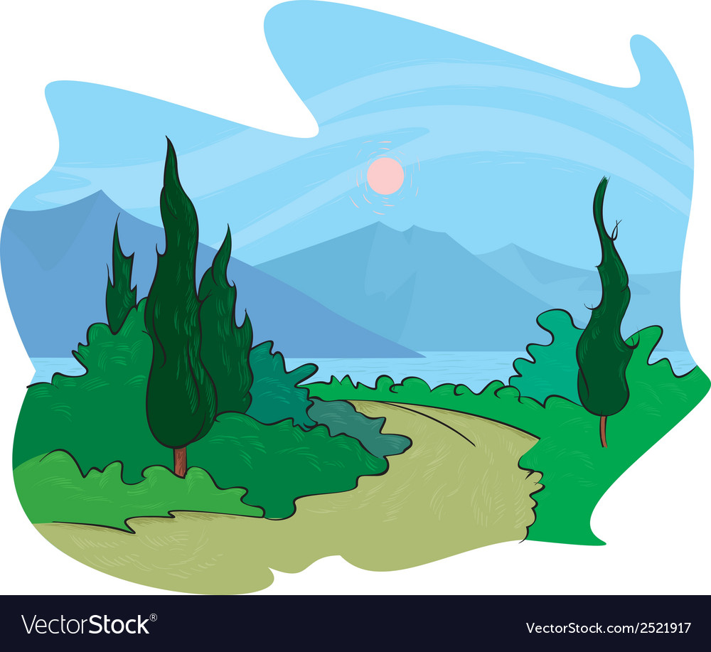 Mediterranean sunset vector image