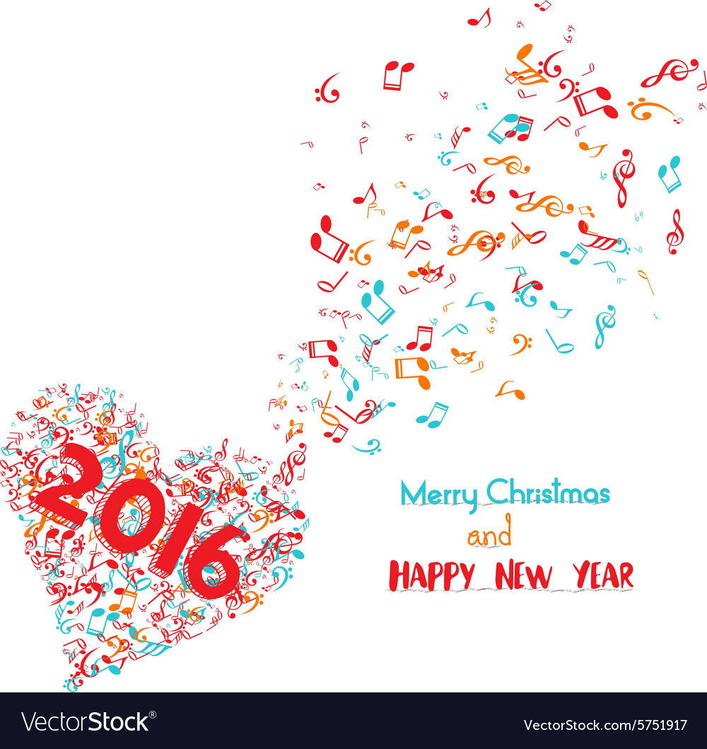 Merry christmas and happy new year 2016 musical is vector image