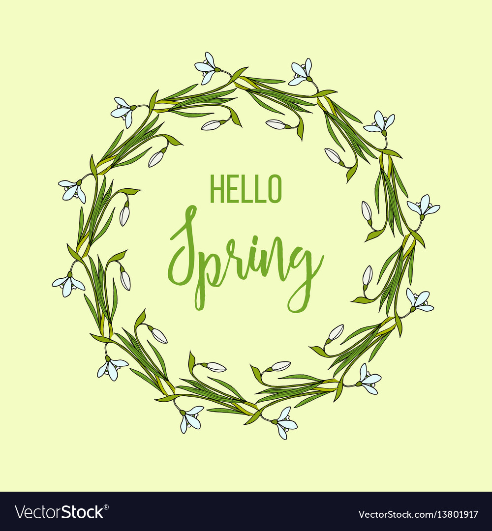 Spring greeting card with snowdrops flower wreath