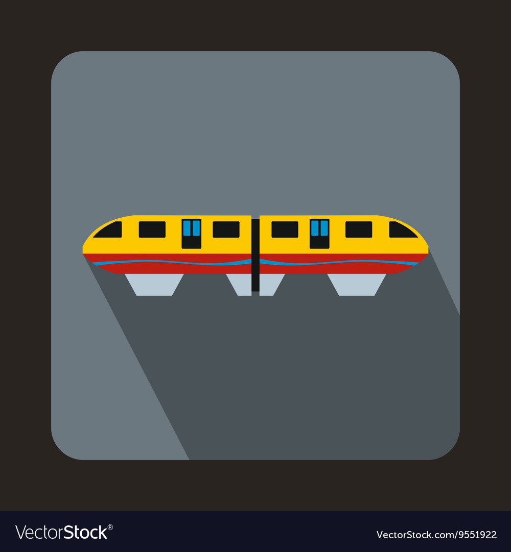 A colorful monorail train icon flat style