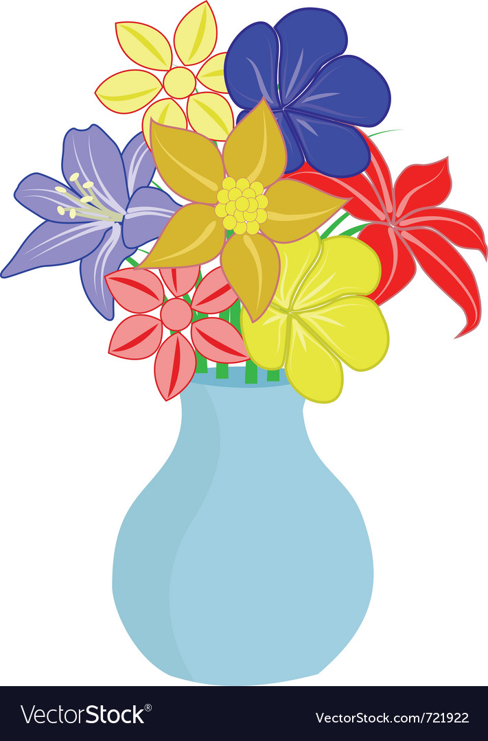 Bouquet of flowers in vase vector image