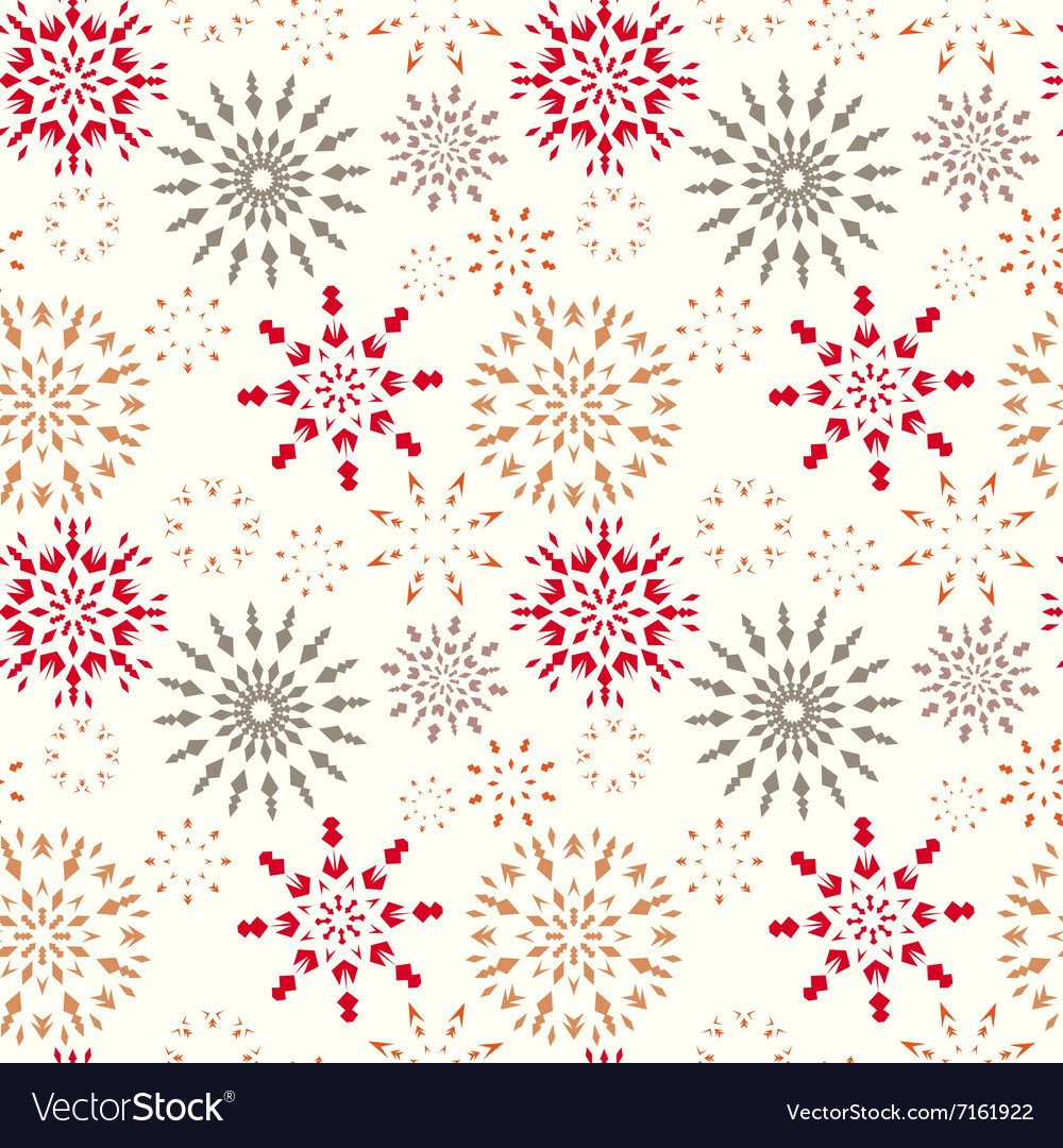 Christmas seamless pattern Snowflakes Red gold