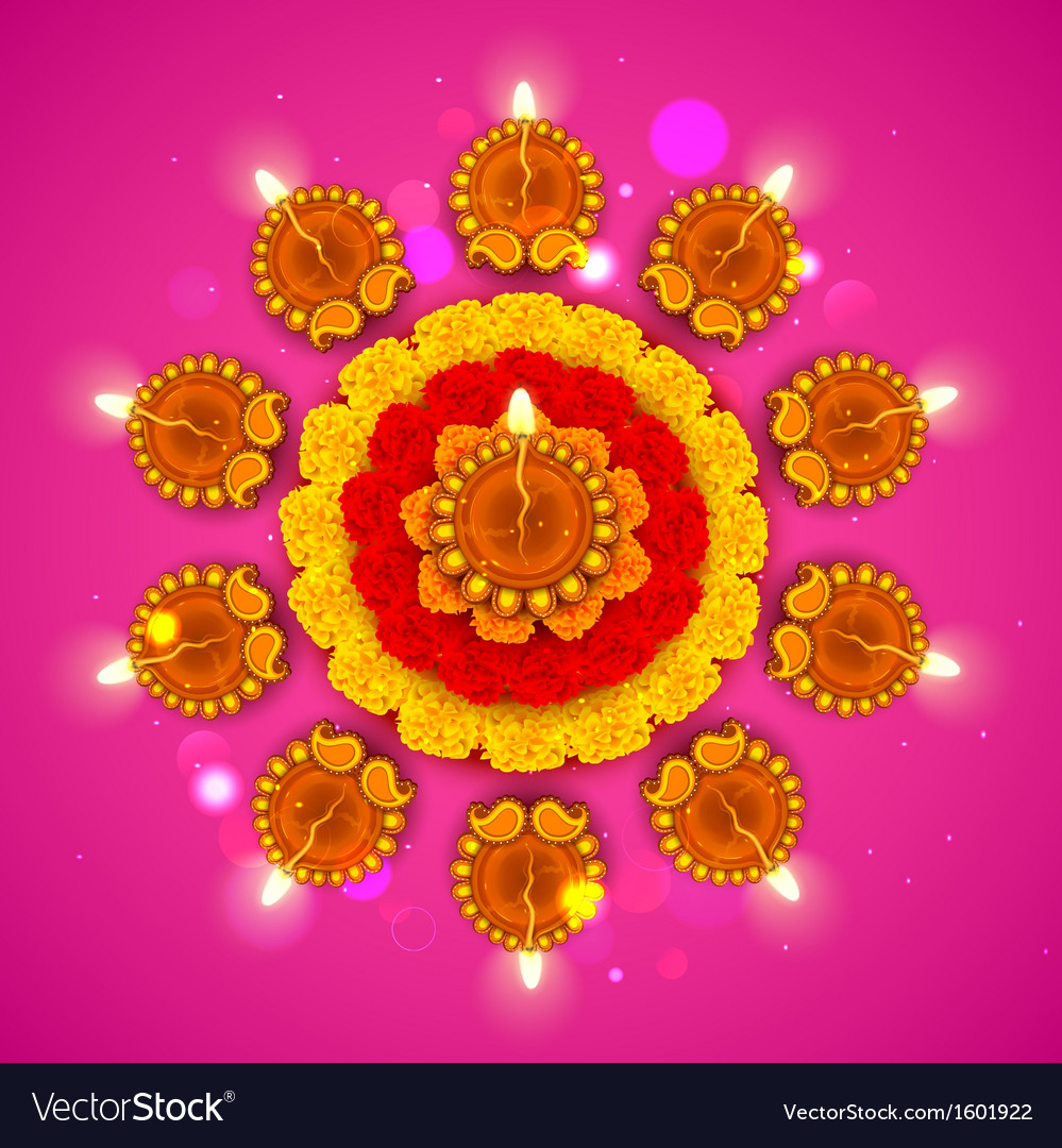 Decorated Diwali Diya on Flower Rangoli Royalty Free Vector for Flower Rangoli Vector  70ref
