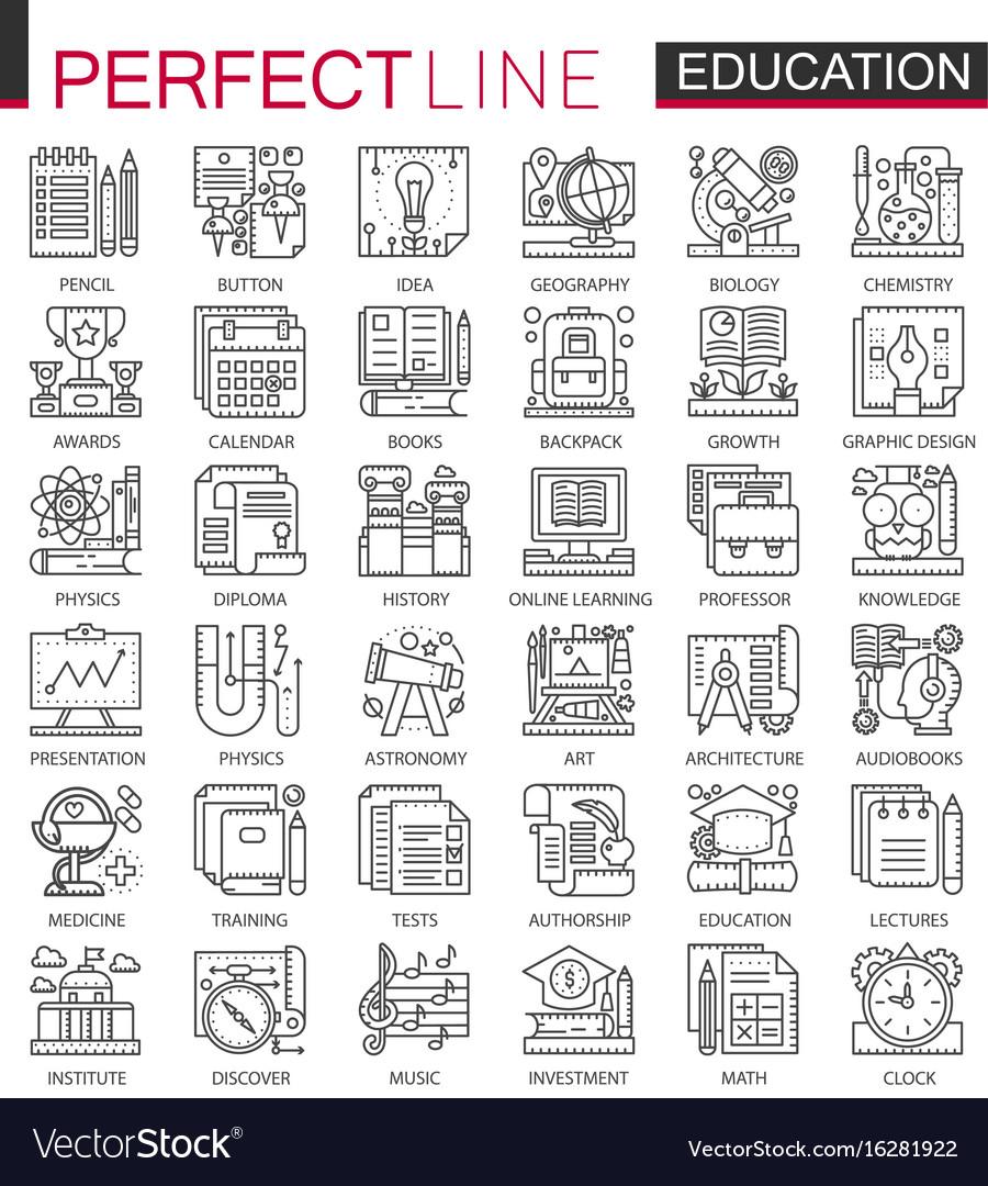 Education outline mini concept symbols modern
