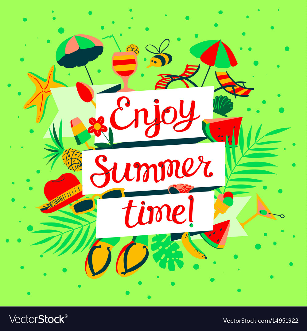 Enjoy summer time lettering beach holidays banner