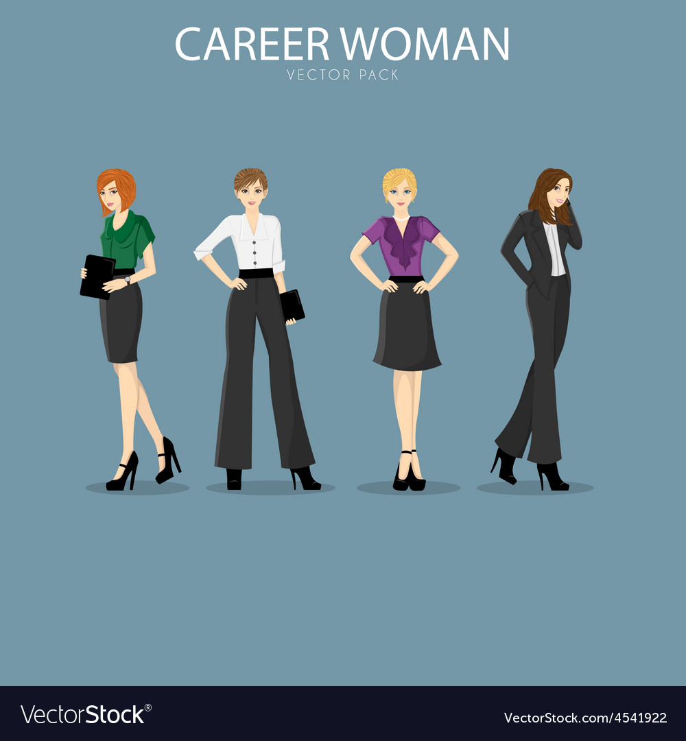 Four Smart And Fashionable Career Woman Royalty Free Vector