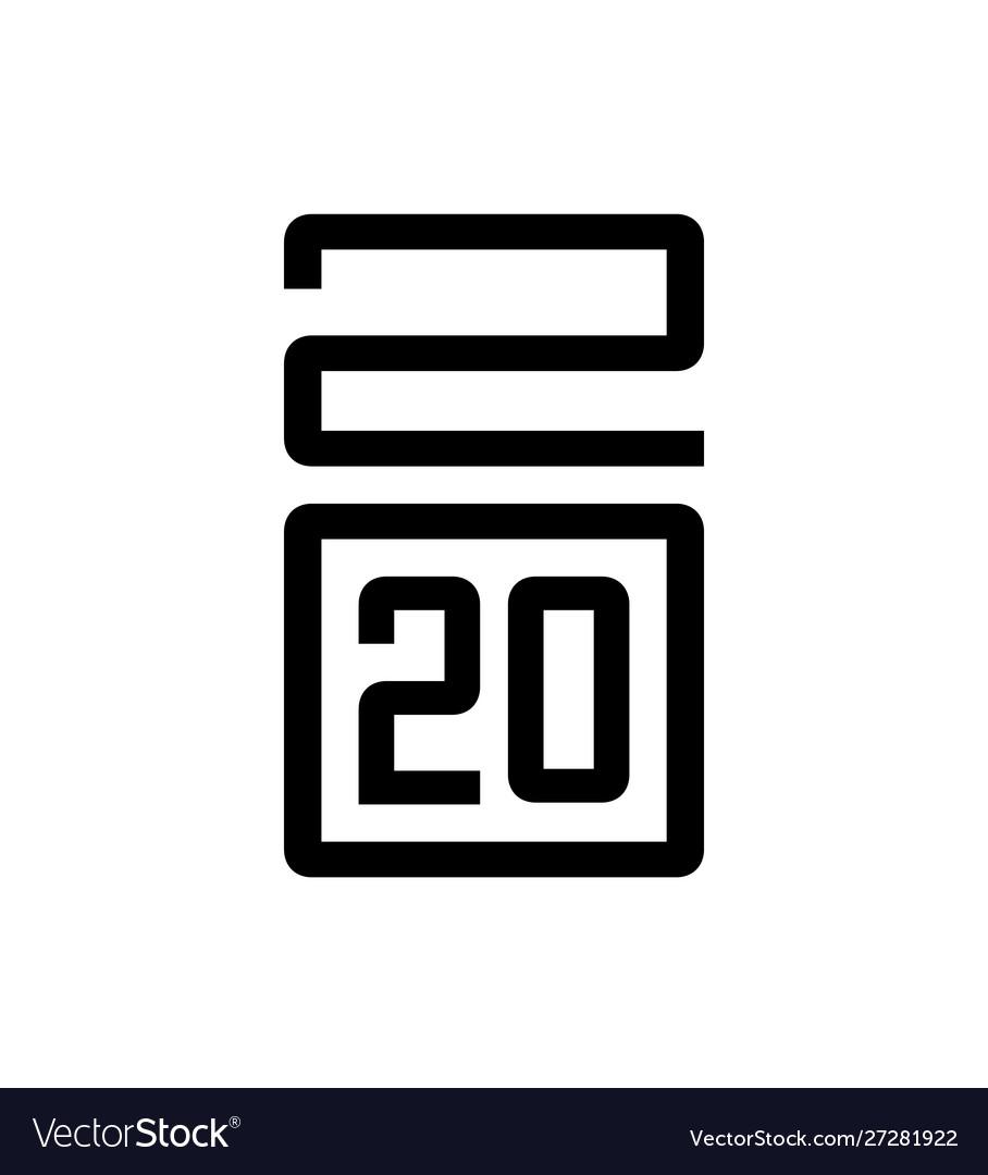Happy new year 2020 typography design