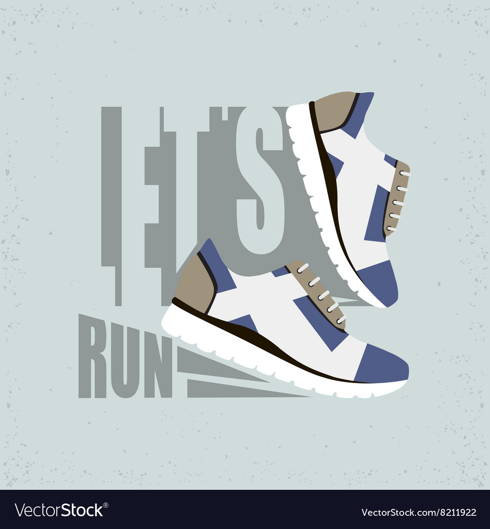 df2b85404d78 Lets run flat Running shoes Royalty Free Vector Image