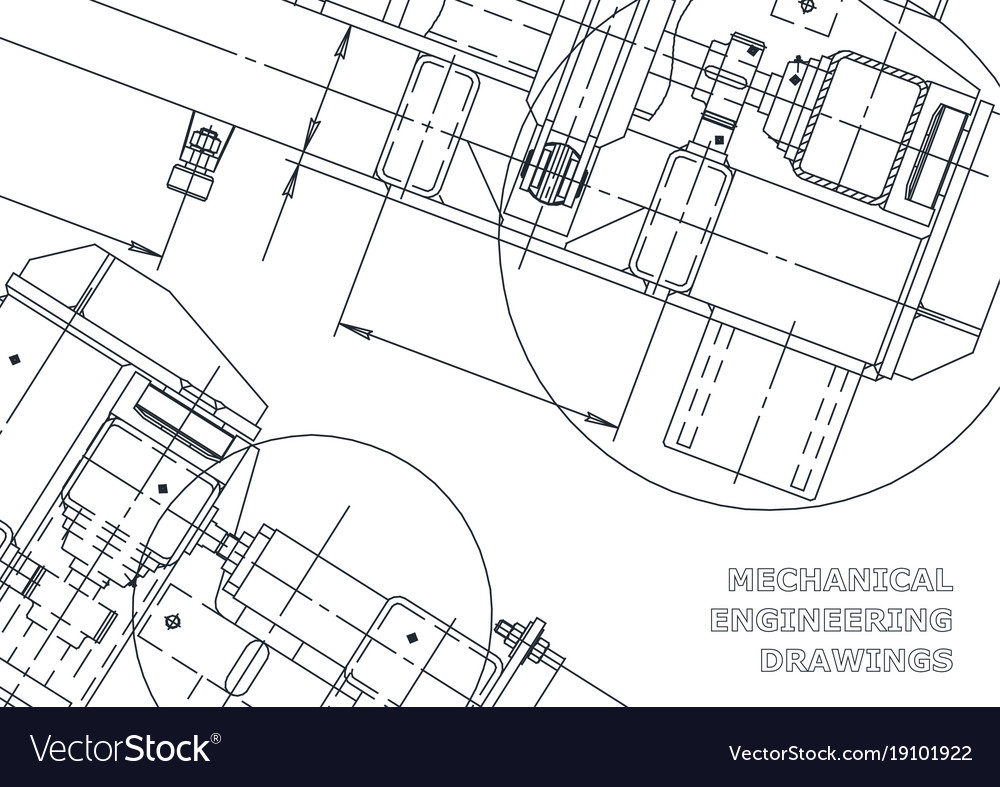 Mechanical engineering drawing blueprints Vector Image