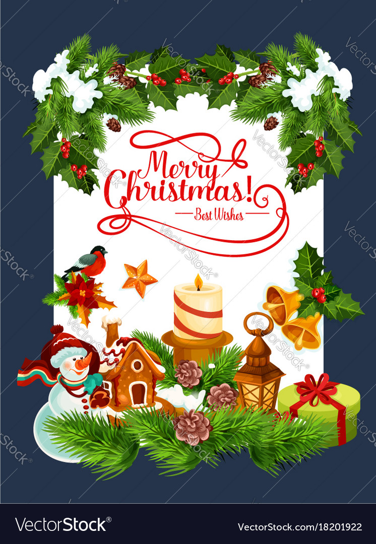 Merry Christmas Holiday Greeting Card Royalty Free Vector