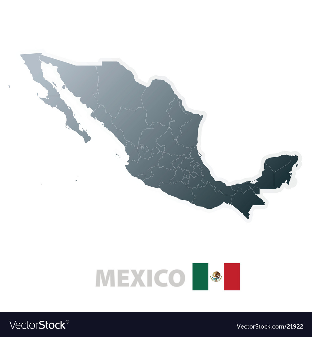 Mexico Map With Official Flag Royalty Free Vector Image