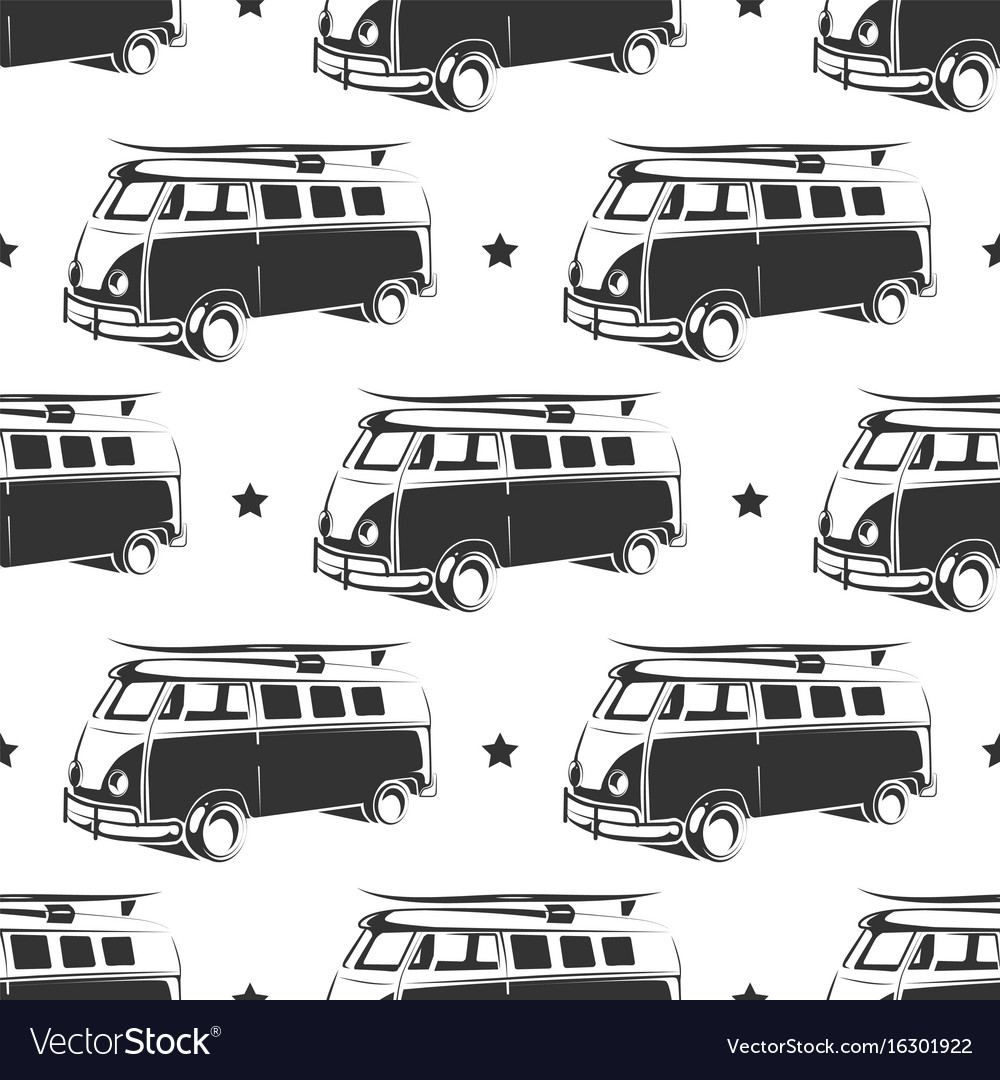 Retro bus with surf seamless pattern