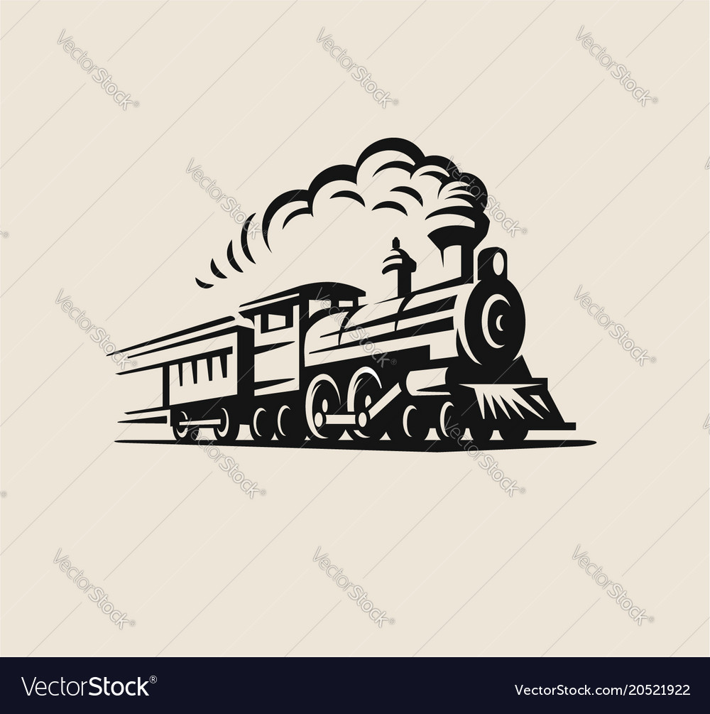 Retro train vintage emblem vector image