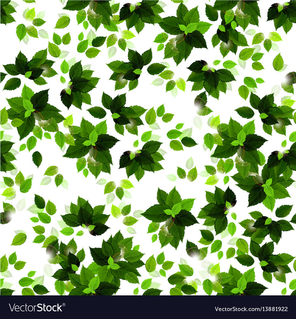 Seamless background with green seasons leaves