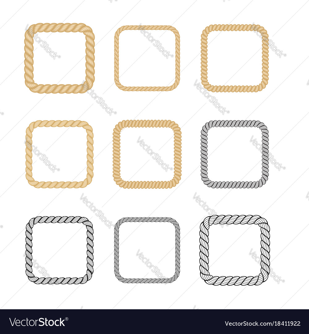 Set of rope frame in marine style vector image
