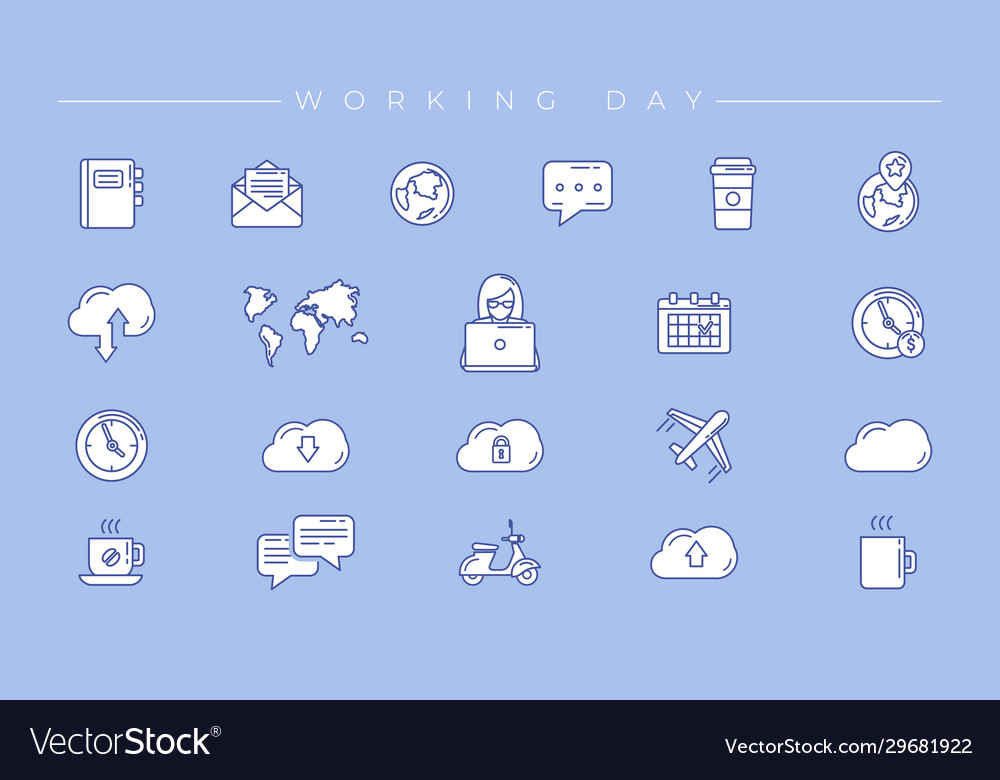 Working day concept line style icons set