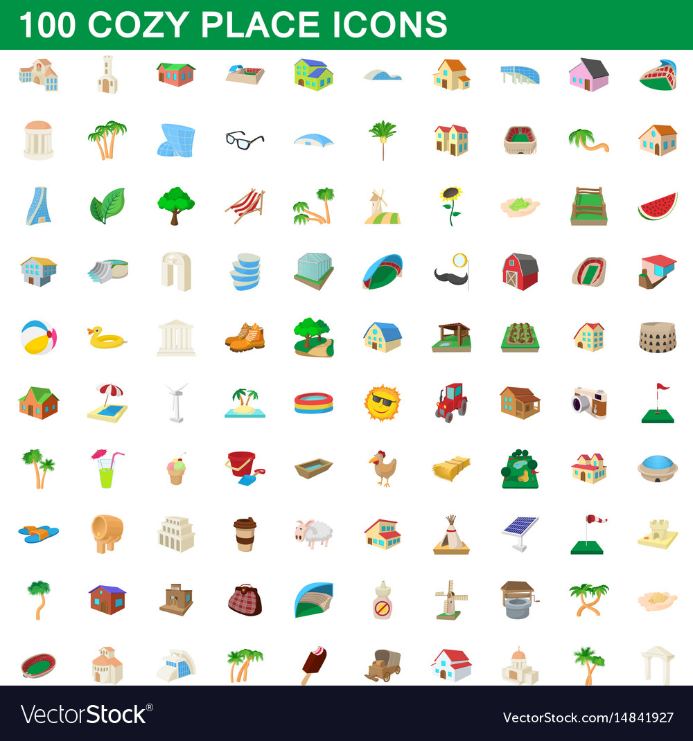 100 cozy place icons set cartoon style