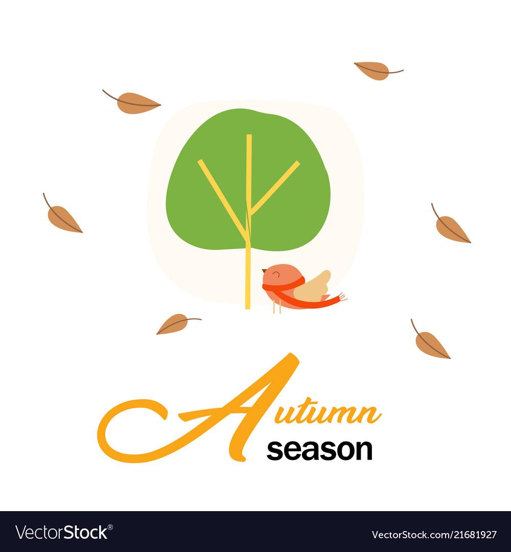 Autumn season birds and tree background ima