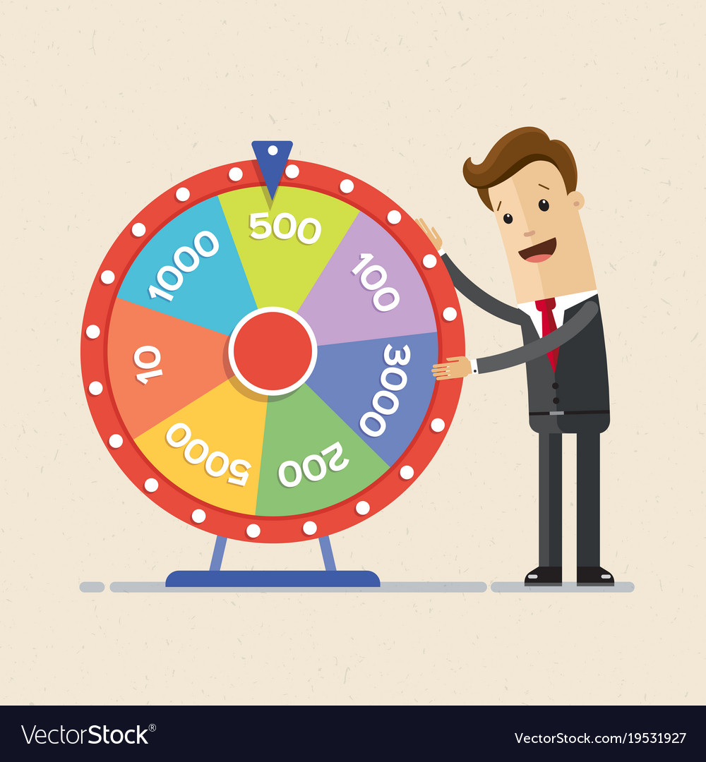 Businessman with fortune s wheel business concept