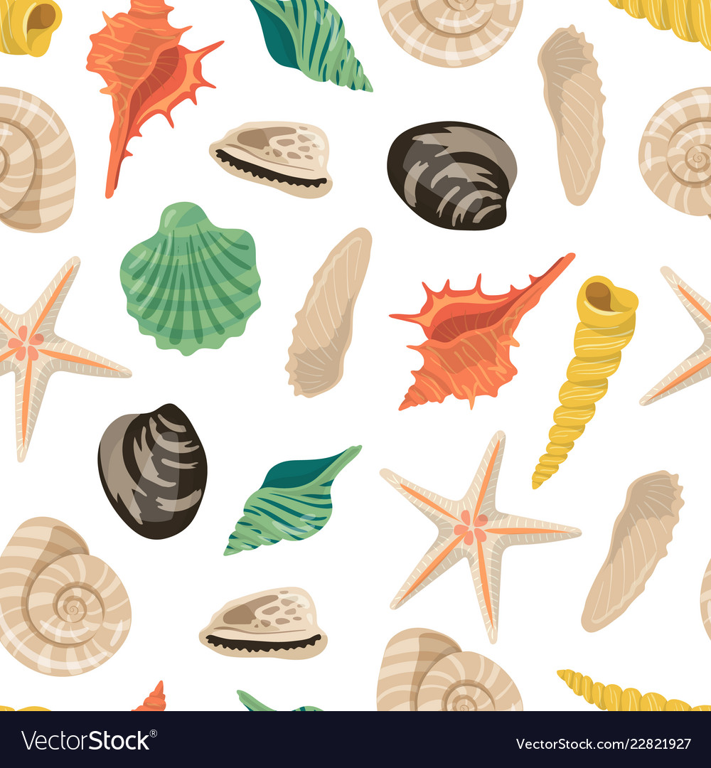 Cartoon sea shells pattern or background