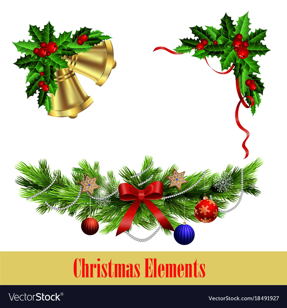 Decorative elements with christmas evergreen set