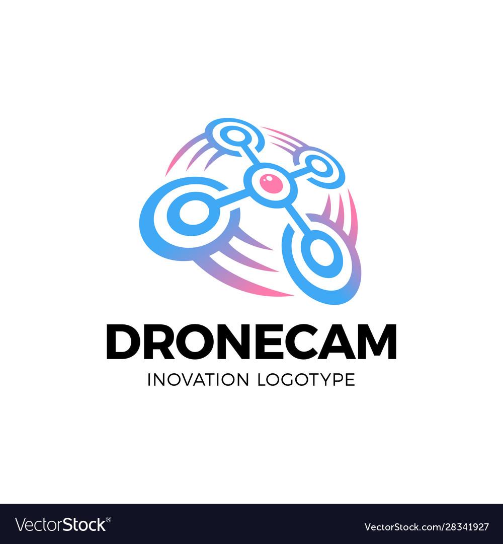 Drone logo drone with photo camera design