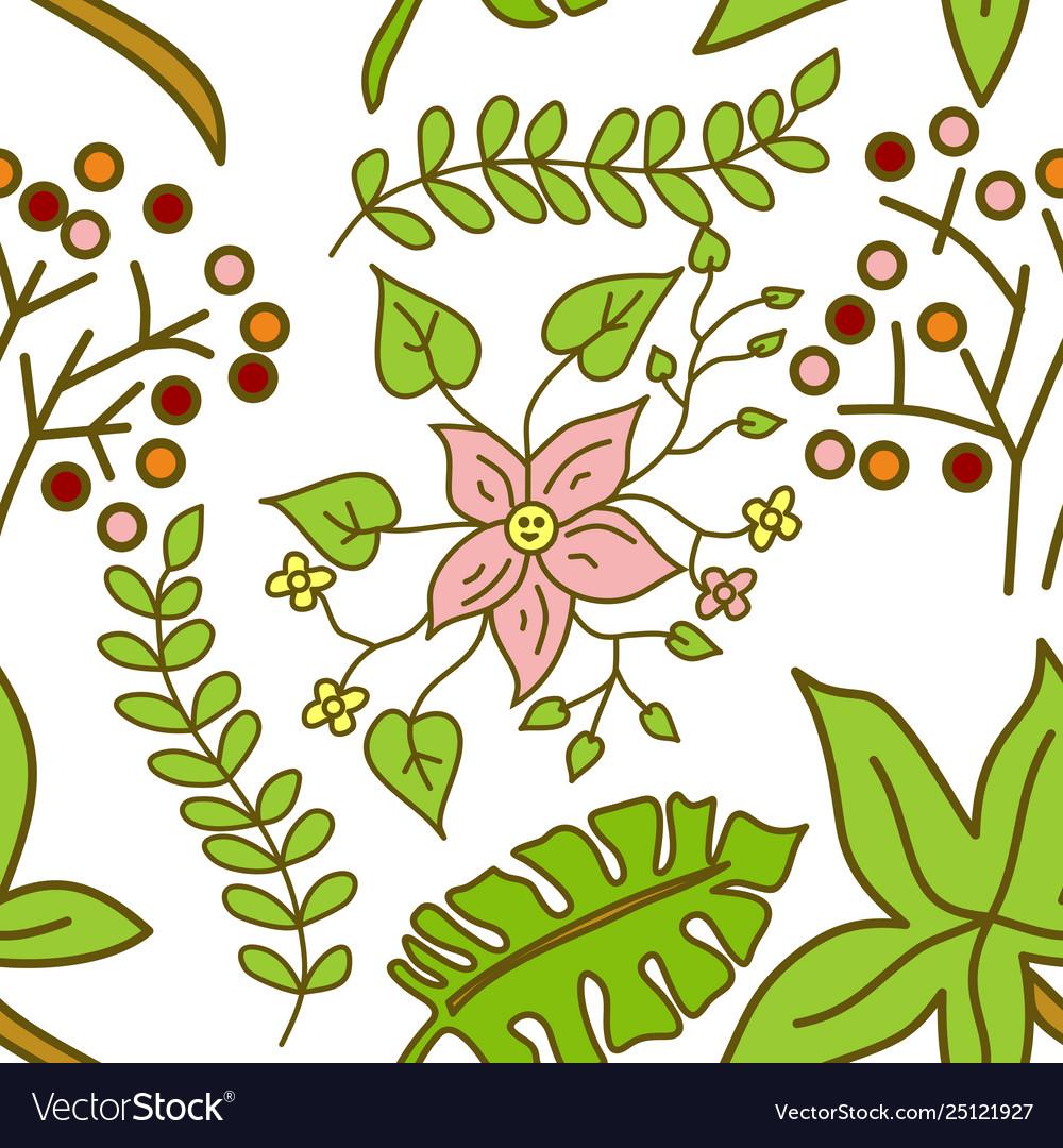 Flower leaf pattern seamless template