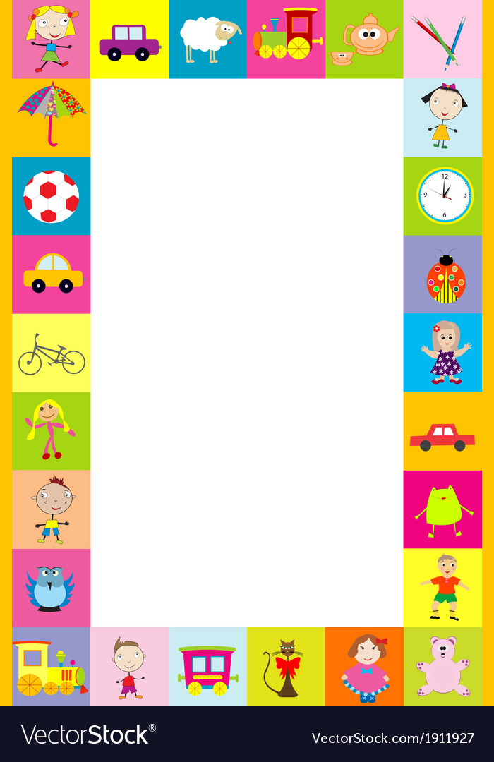 Frame with toys for kids Royalty Free Vector Image