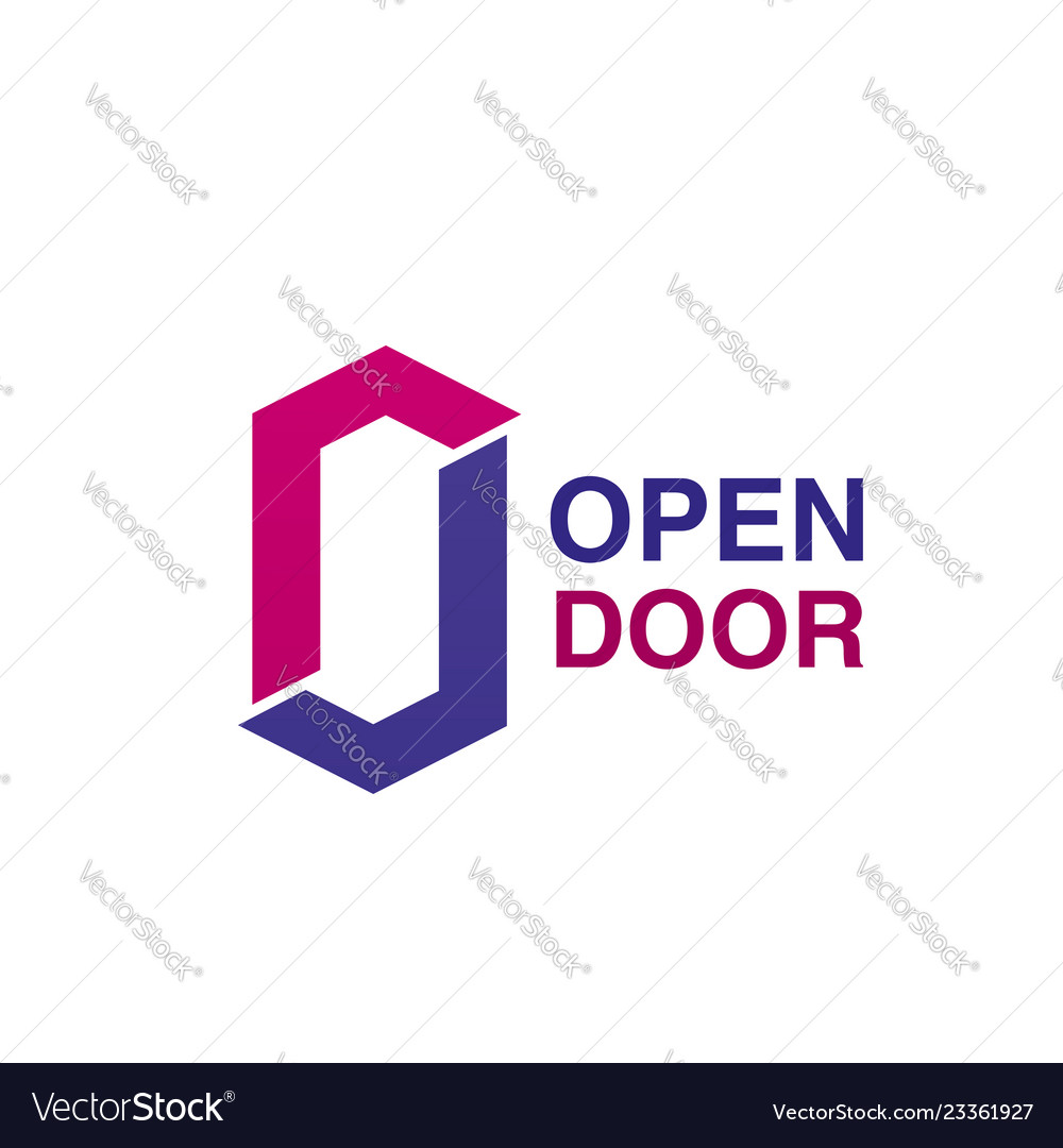 Open door icon for house repair company emblem