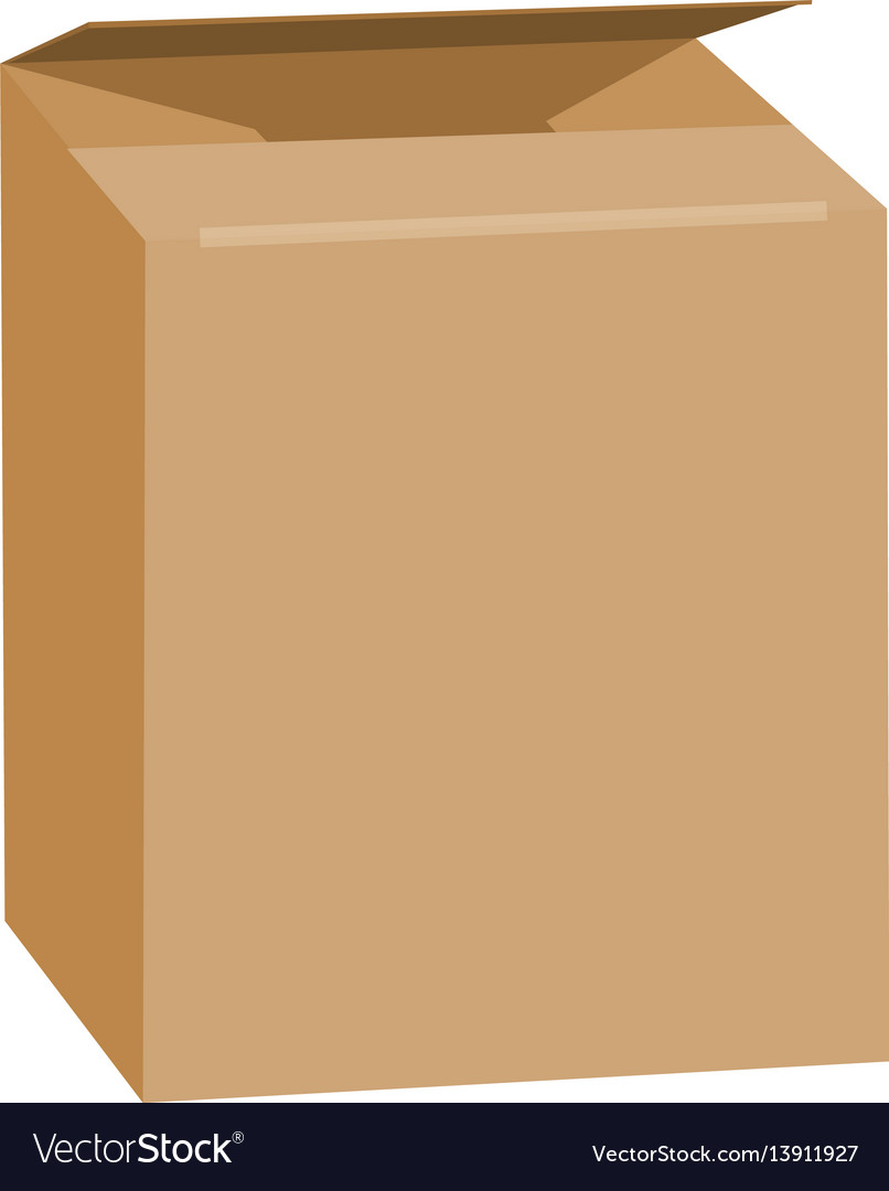 Opened brown rectangle box mockup realistic style