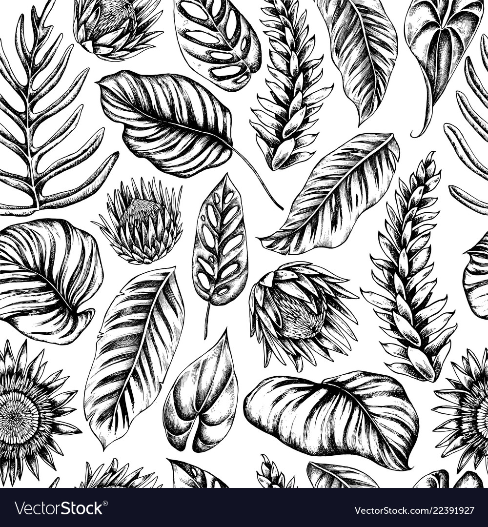 Seamless pattern palm leaves and