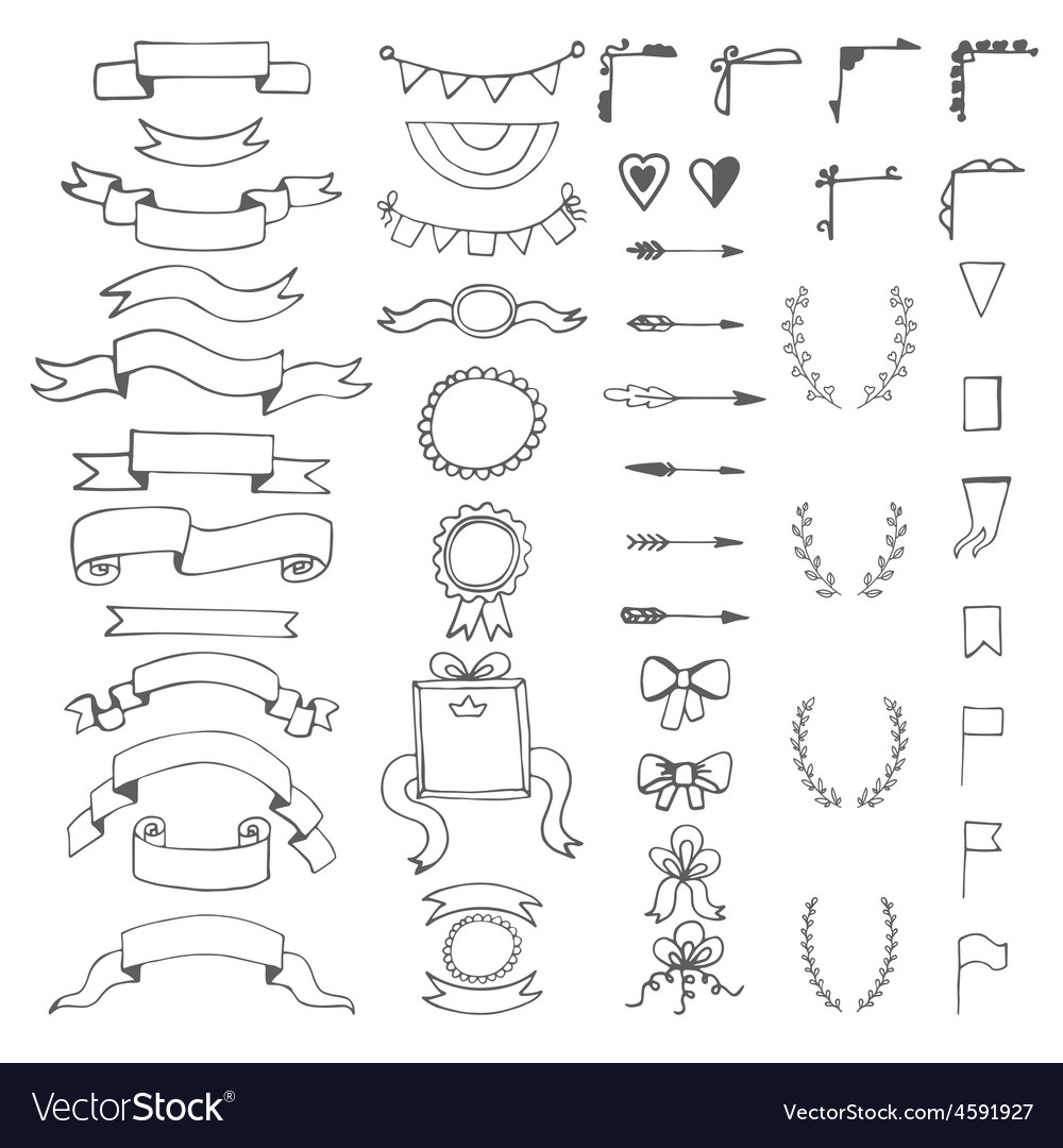 Set of hand drawn decorative elements wedding vector image junglespirit Image collections