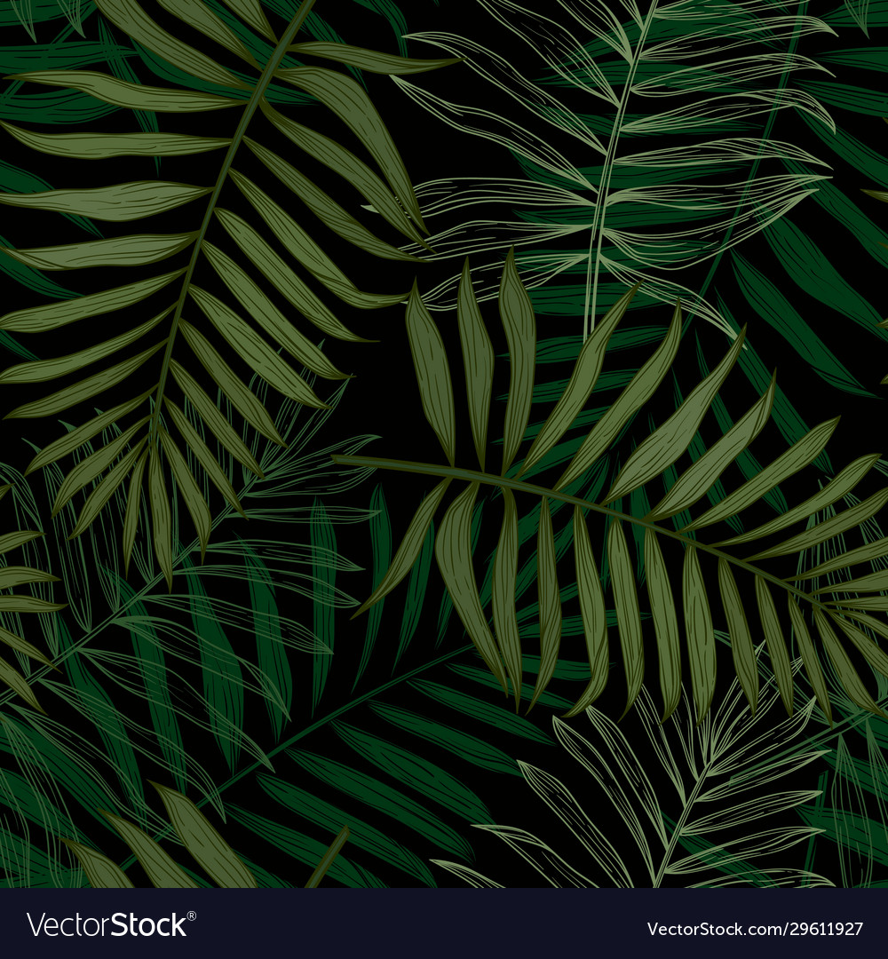 Tropical seamless pattern with palm leaves modern