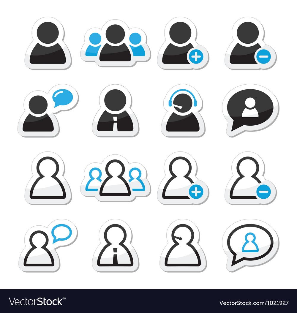 User man icon labels set for website