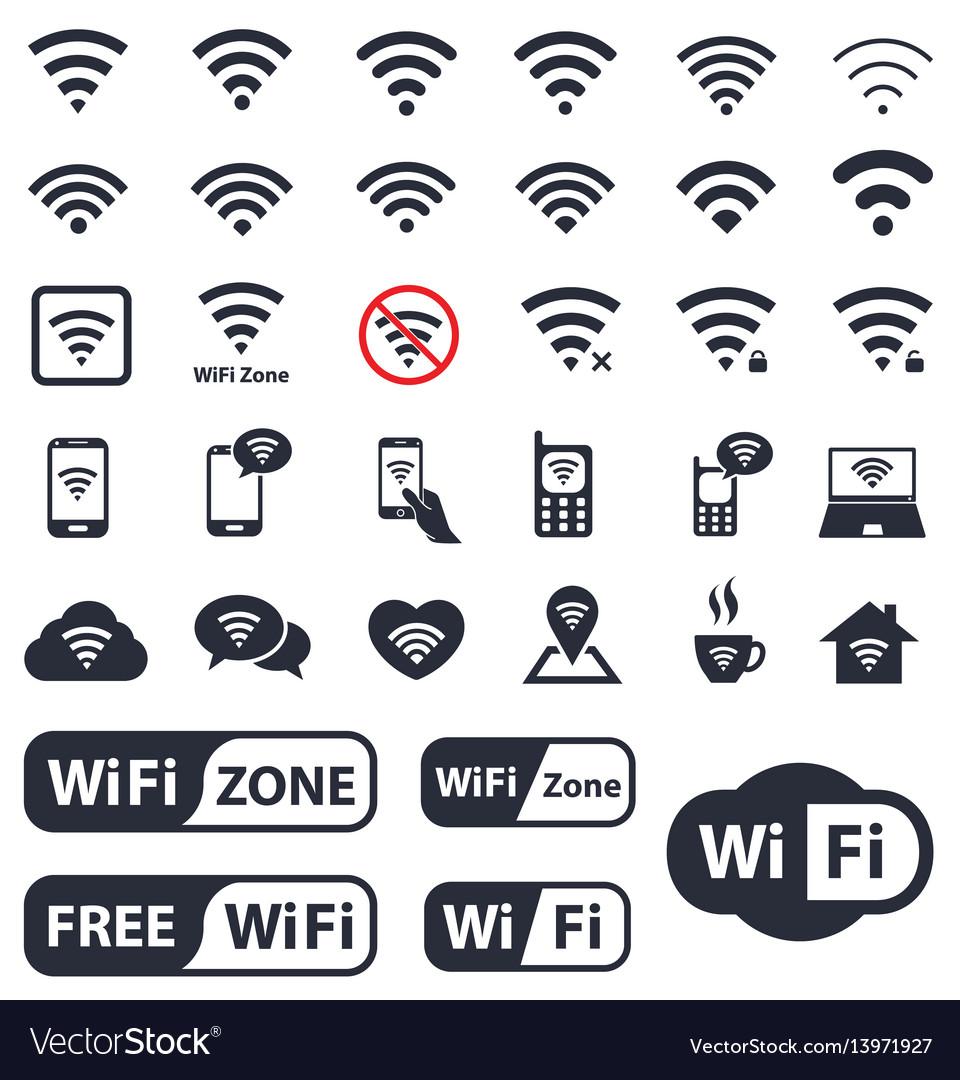 Wifi icons set wireless sign