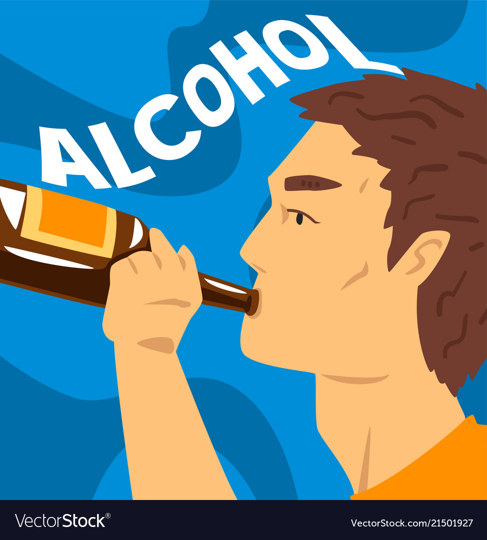Young man with addiction to alcoholic drink
