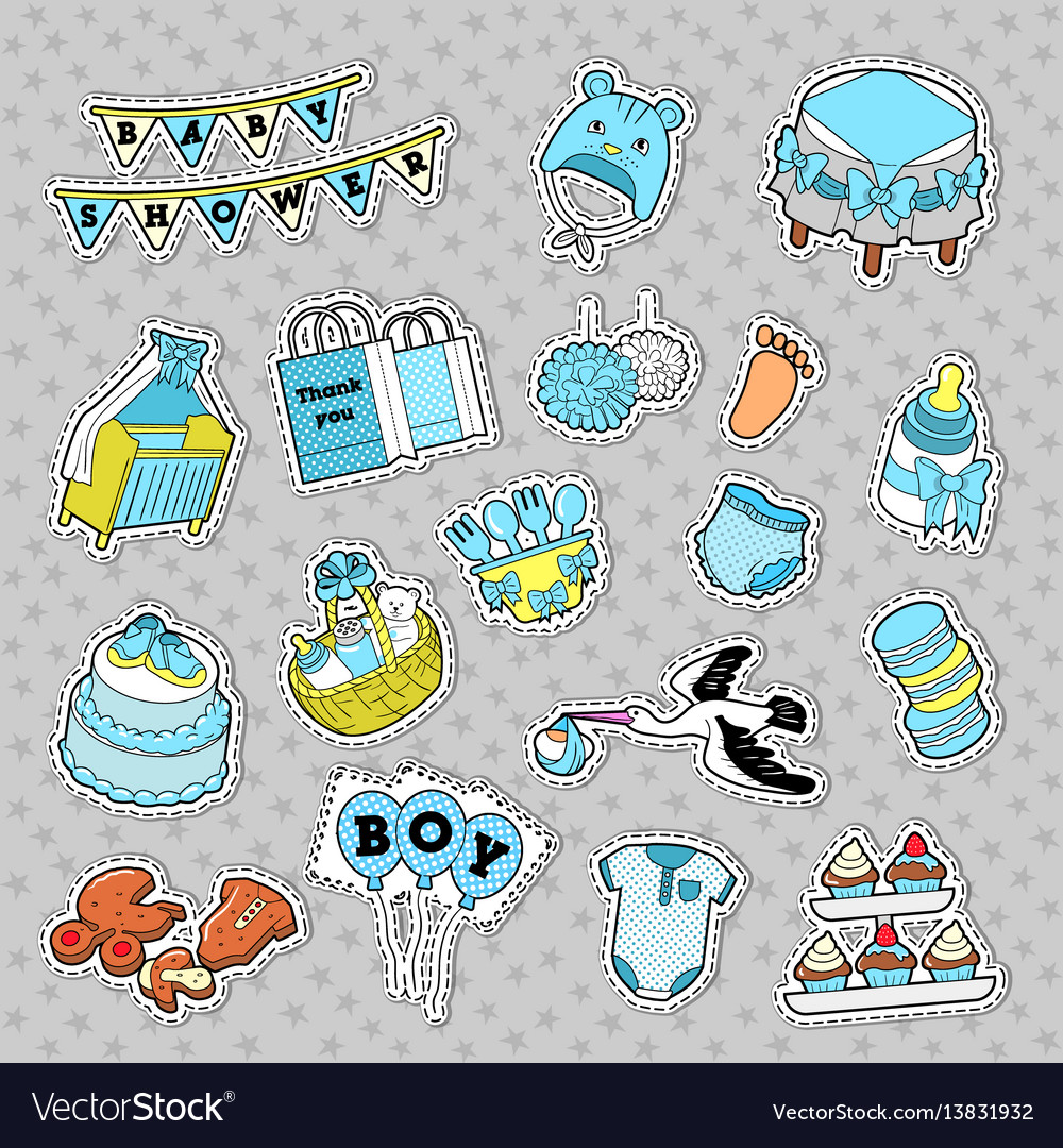Baby shower boy stickers badges patches